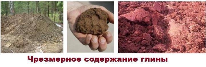 Избыток глины в почве