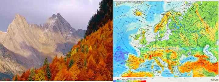 Карта Европы и горы