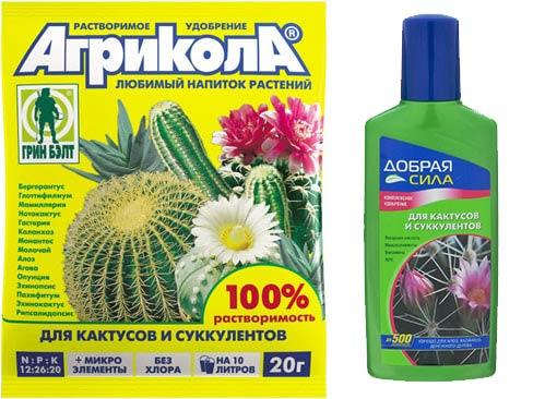 Удобрания для кактусов и суккулентов Агрикола и Добрая сила