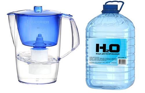 Фильтрованная и дистилированная вода
