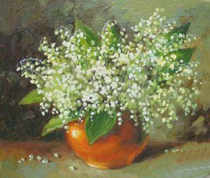 Картина маслом с изображением ландыша