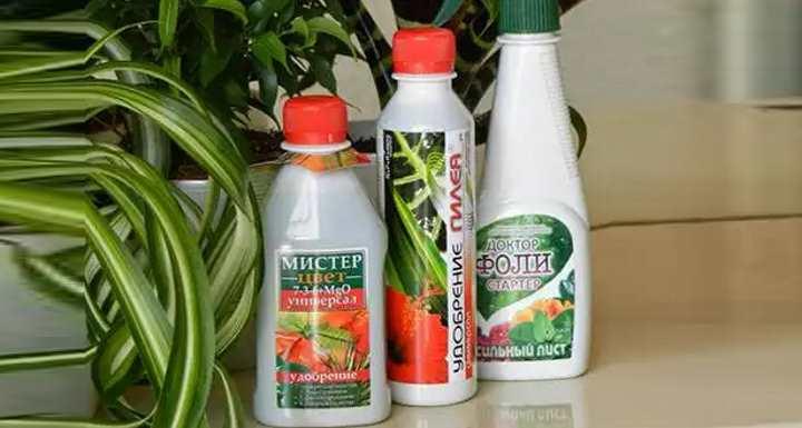 Три бутылки удобрений для комнатных растений