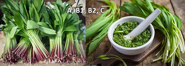 Черемша и витамины А, В1, В2, С