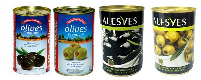 Оливки и маслины консервированные