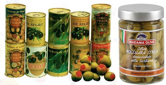Консервированные оливки и маслины