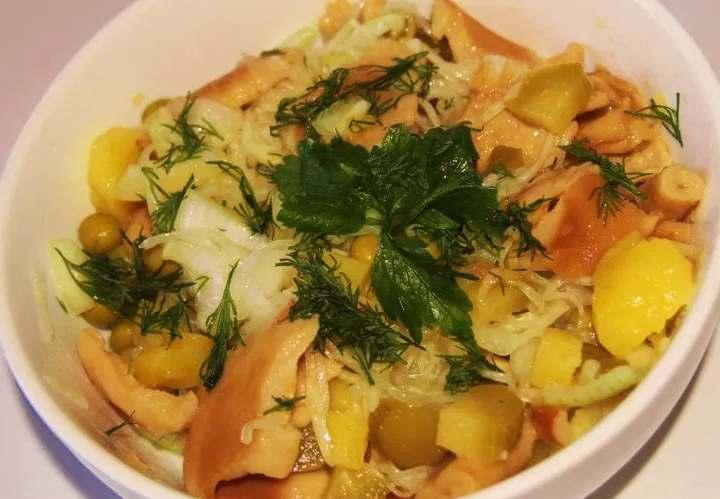 Волнушки в картофельном салате