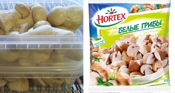 В контейнере заморозить грибы