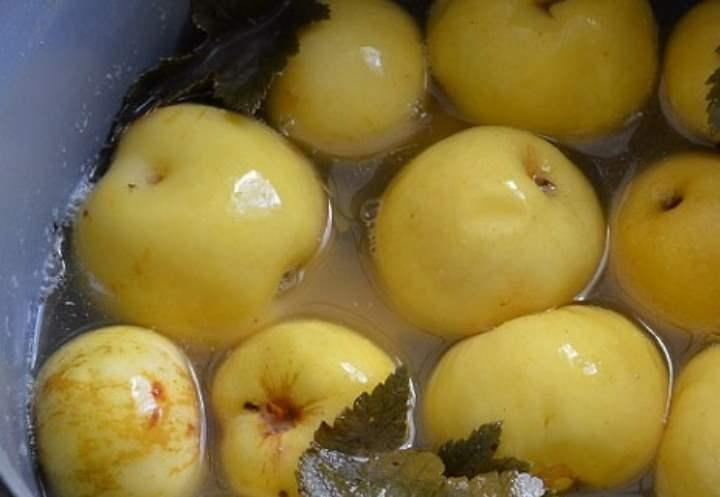уложить листочки вишни и черной смородины, сверху слоями яблоки