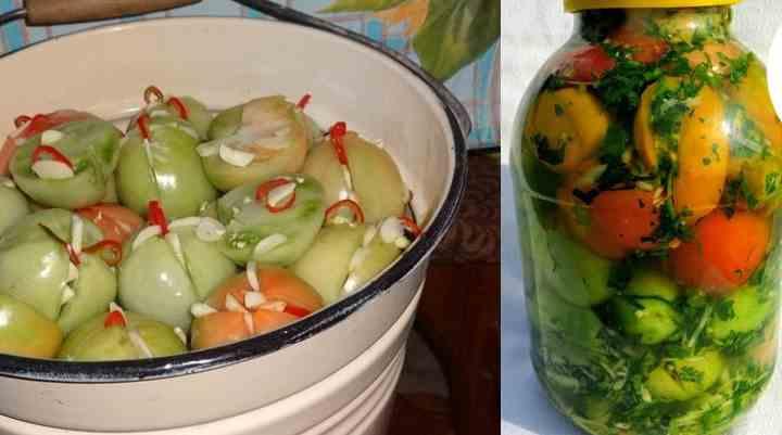 Один килограмм зеленых томатов, обязательно средние
