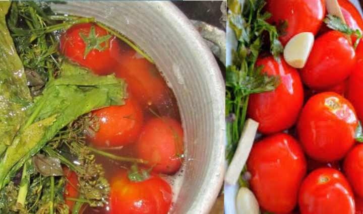 Красные помидоры в ведре на зиму